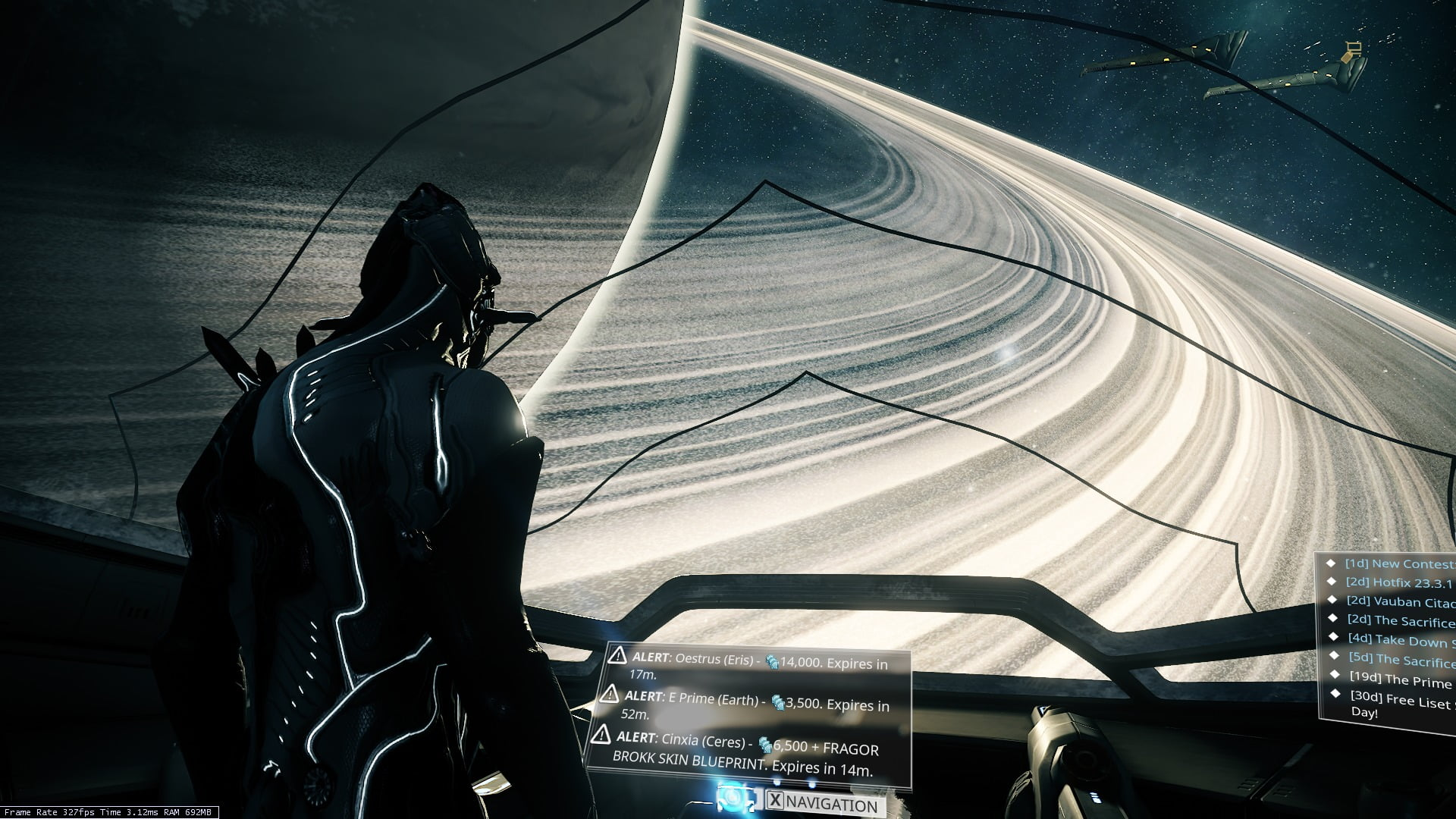 Warframe Review - Saturn as seen from the Orbiter