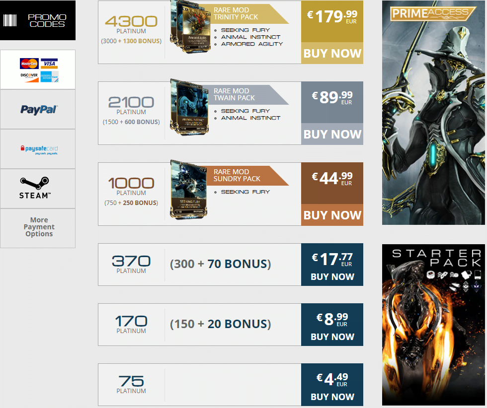 warframe pay to win